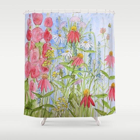 Curtains Ideas botanical shower curtain : Watercolor Garden Flowers Summer Botanical Illustration Shower ...