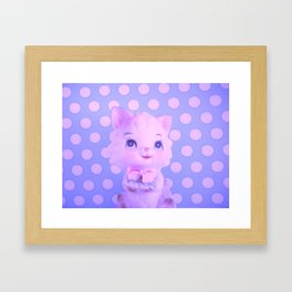 Polka dot kitty  Framed Art Print