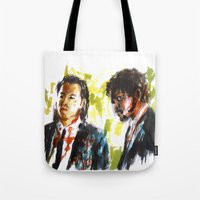 pulp fiction Tote Bags featuring Pulp Fiction by Miquel Cazanya