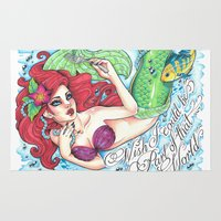 ariel Area & Throw Rugs featuring Ariel by Little Lost Forest