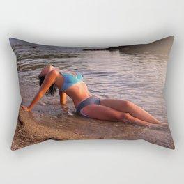 Beautiful young woman on a beach near sea Rectangular Pillow
