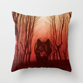 Gwyllgi Black Dog Hellhound Wolf Illustration Throw Pillow