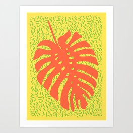 Memphis Monstera Firea Art Print