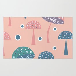 Dancing mushrooms in pink Rug