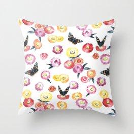 Strawflowers & Butterflies Throw Pillow