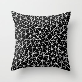 Connectivity - White on Black Throw Pillow