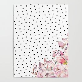 Boho Blush Flowers and Polka Dots Poster