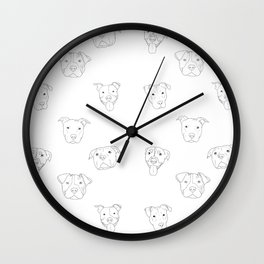 White pit bull love Wall Clock