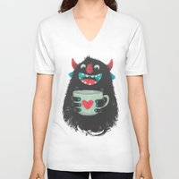 coffee V-neck T-shirts featuring Demon with a cup of coffee by Lime