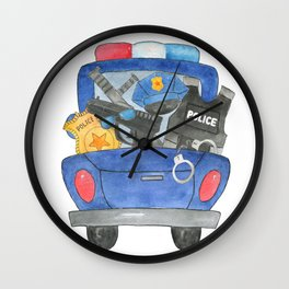 Watercolor Police Truck Wall Clock