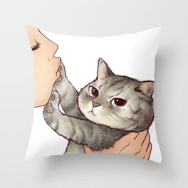 cat : hmmmmm! Throw Pillow