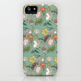 Hedgehogs Field in Green iPhone Case