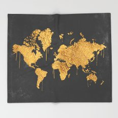 Gold World Map Throw Blanket