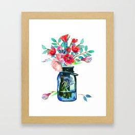 Red Peonies in Mason Jar Framed Art Print