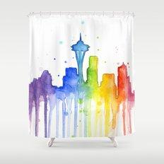 Seattle Skyline Rainbow Watercolor Shower Curtain