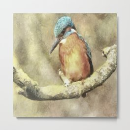 Stunning Kingfisher In Watercolor Metal Print