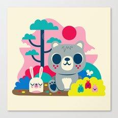 Woodland Bear and Bunny Canvas Print