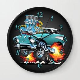 Classic Fifties Hot Rod Muscle Car Cartoon Wall Clock
