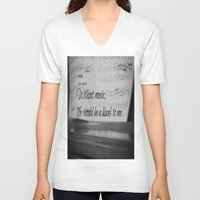 jane austen V-neck T-shirts featuring Music Jane Austen by KimberosePhotography