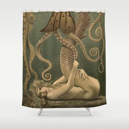 """Mermaid & Octopus No. 4"" by David Delamare (No Border) Shower Curtain"