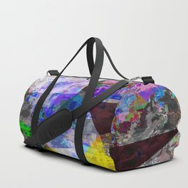 vintage psychedelic triangle polygon pattern abstract in blue purple yellow green Duffle Bag