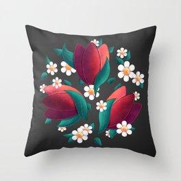 Bouquet (Tulipes et Marguerittes) Noir Throw Pillow