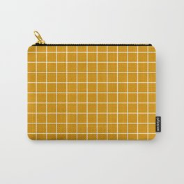 Harvest gold - orange color - White Lines Grid Pattern Carry-All Pouch