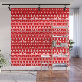 Red & White Ugly Sweater Nordic Christmas Knit Pattern Wall Mural