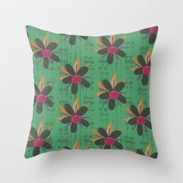 Mid Century Hawaiian Green Throw Pillow