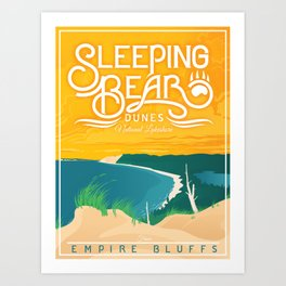 Sleeping Bear Dunes - Vintage Inspired Michigan Travel Poster Art Print