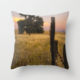 Fenced In an oak tree along the fence at sunset Throw Pillow
