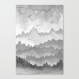 misty mountains - grey palette Canvas Print