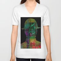 oil V-neck T-shirts featuring oil worker by Joe Ganech