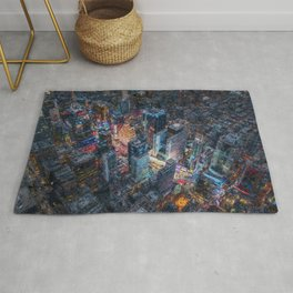 Times Square neon city lights, Midnight landscape painting Rug