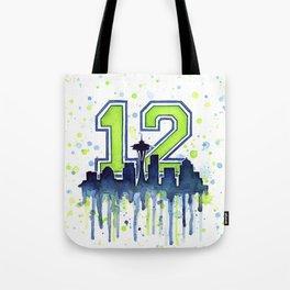 Seattle 12th Man Art Skyline Watercolor Tote Bag