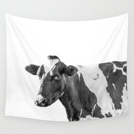 Cow Photography Animal Art | Minimalism black and white | black-and-white | Peek-a-boo Wall Tapestry