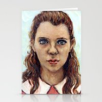 karu kara Stationery Cards featuring Suzy - Moonrise Kingdom - Kara Hayward by Heather Buchanan