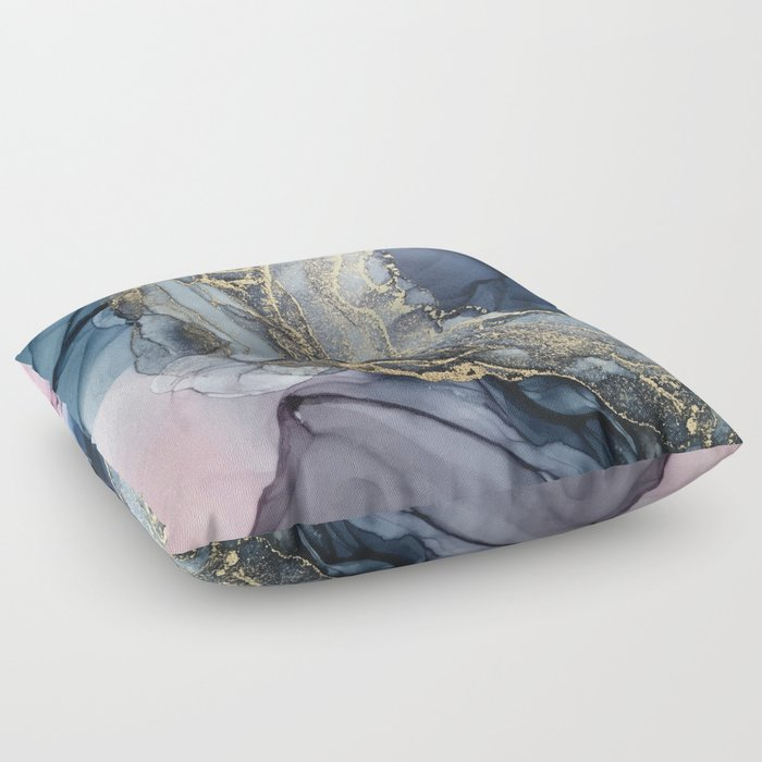 Blush, Payne's Gray and Gold Metallic Abstract Floor Pillow