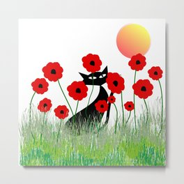 Whimsical Black Cat and Red Poppies Metal Print