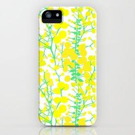 Australian Golden Wattle Flowers in White iPhone Case