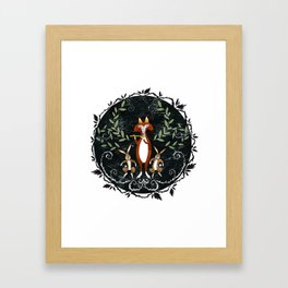 Fox & Rabbit Dance Framed Art Print