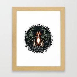 Fox & Rabbit Dance Framed Art Print