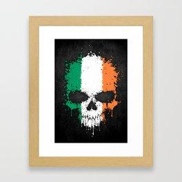 Flag of Ireland on a Chaotic Splatter Skull Framed Art Print