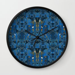 Blue Indigo Unicorn Fractal Wall Clock