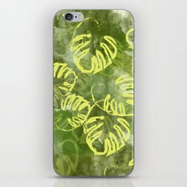 oil green palm leaves pattern iPhone Skin