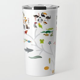 Evolution scale from unicellular organism to mammals. Evolution in biology, scheme evolution of anim Travel Mug