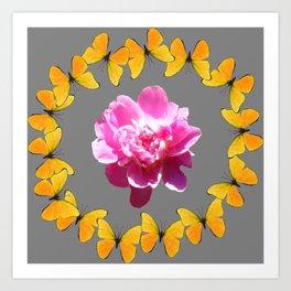 PINK PEONY FLOWER & YELLOW BUTTERFLIES ON GREY ART Art Print