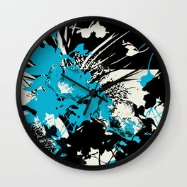 tropical flower silhouettes in sky blue Wall Clock