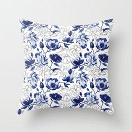 Navy Magnolia Throw Pillow