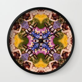 Floral abstract rennaisance pattern with angels kissing Wall Clock